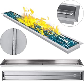 VEVOR Fire Pit Pan 61 X 8 Inch Stainless Steel Linear Trough Drop-in Fire Pit Pan Rectangular Table Top Fire Pit Fire Bowl, 110k BTU, Single Burner