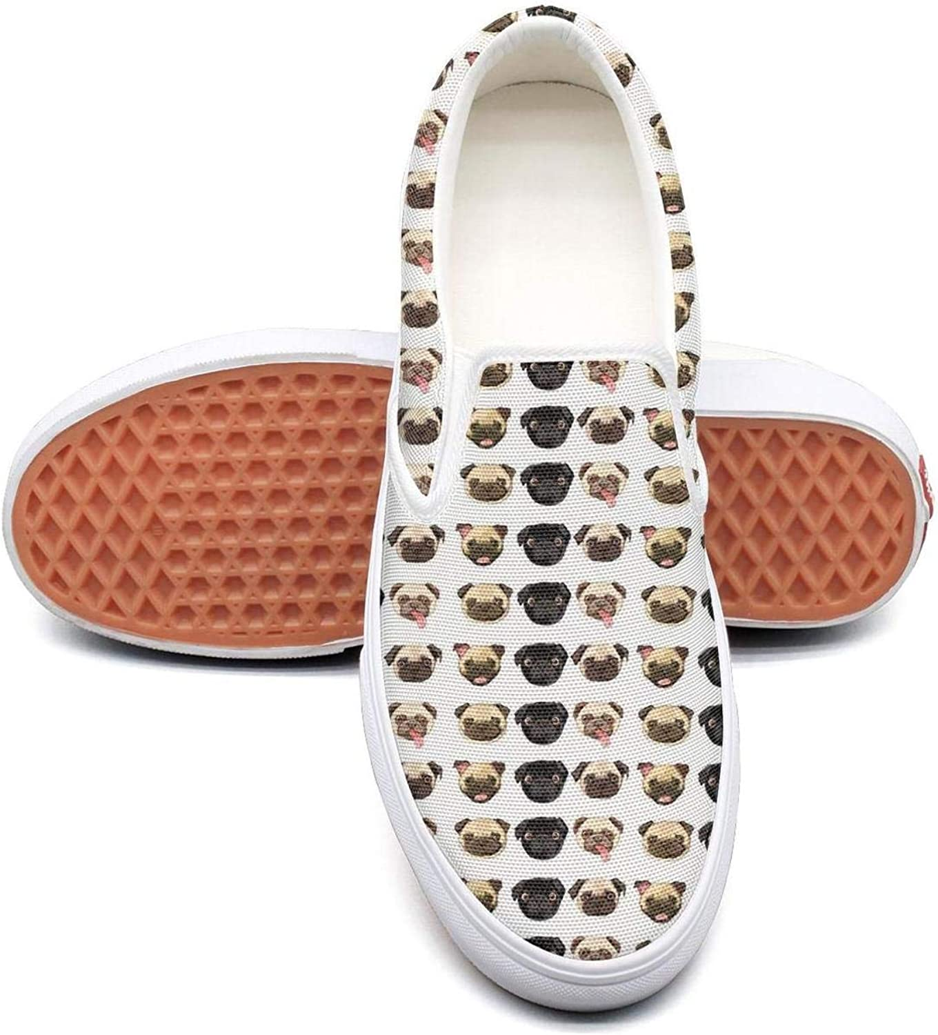 Cute Pug Dog Baby Womens Fashion Slip on Low Top Canvas Basketball shoes