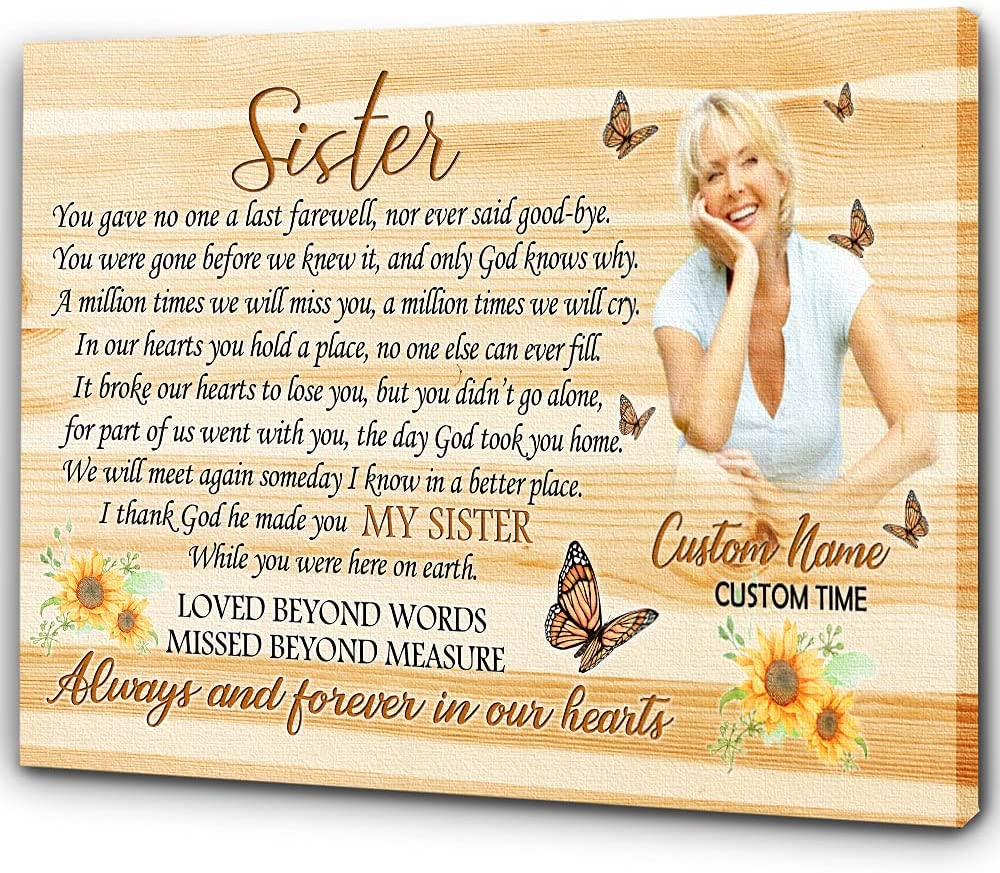 NEW before selling Memorial Canvas Butterfly Online limited product Sunflower Sister A Poem Wall