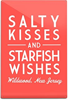 Lantern Press Wildwood, New Jersey - Salty Kisses and Starfish Wishes - Simply Said (12x18 Aluminum Wall Sign, Wall Decor Ready to Hang)