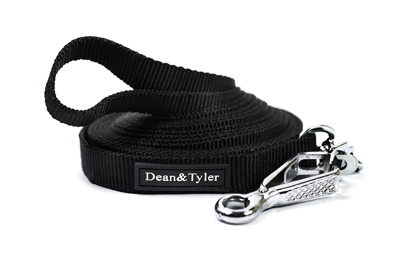 Dean & Tyler Double Ply Nylon Dog Leash with Herm Sprenger Hardware, 120-Feet by 3/4-Inch, Black