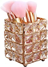 Smi&Love Makeup Brush Holder Crystal Makeup Brush Organizer Storage Bucket Eyebrow Pencil Pen Cup Tools Container (Golden ...