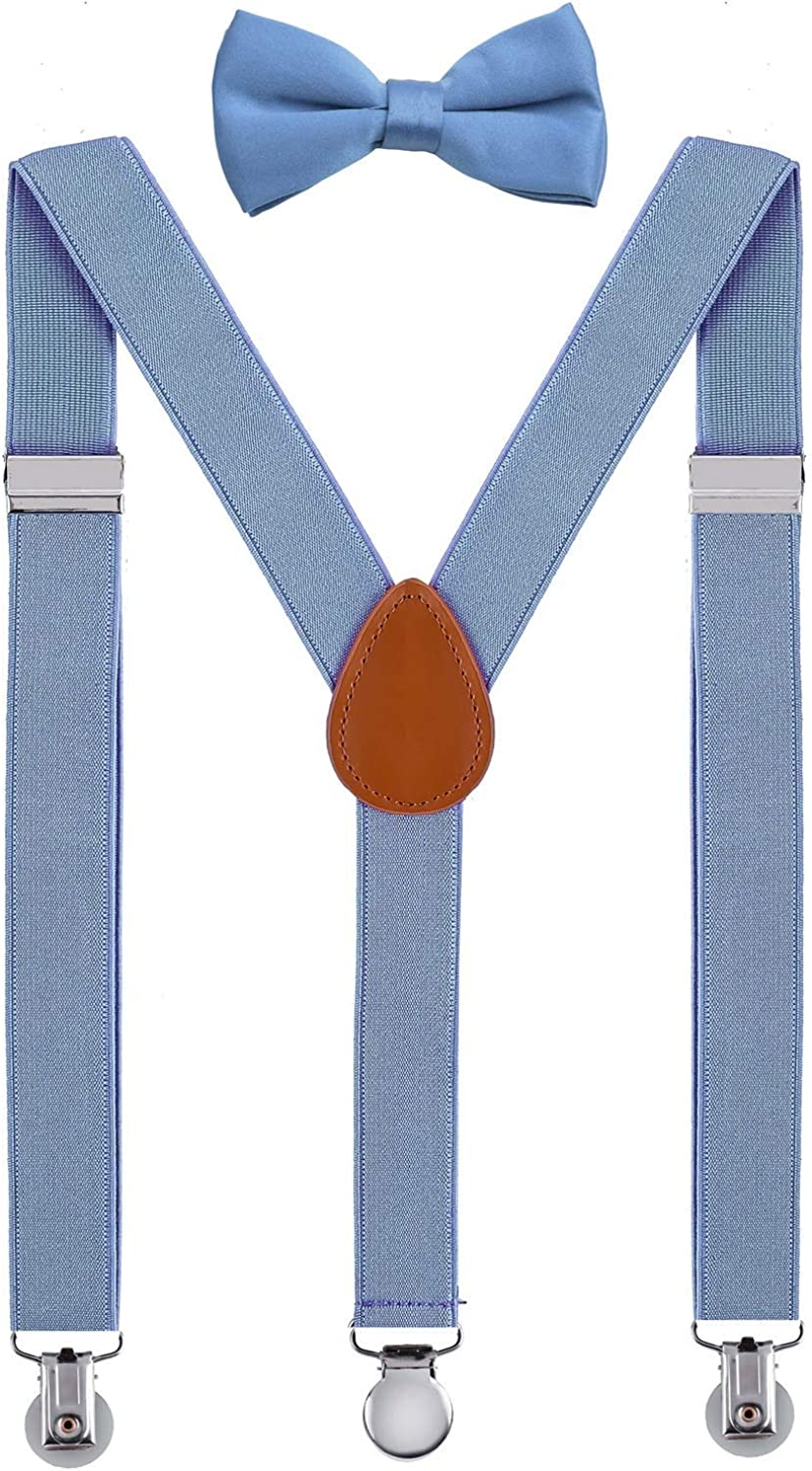 SUNNYTREE Kids Suspenders Adjustable Y Back with Bow Tie Set