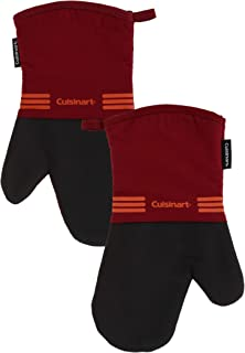 Cuisinart Neoprene Oven Mitts, 2 Pack - Heat Resistant Oven Gloves to Protect Hands and Surfaces with Non-Slip Grip and Hanging Loop - Ideal Set for Handling Hot Cookware, Bakeware Items - Salsa Red