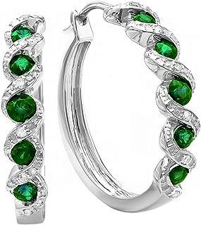 Round Lab Created Gemstone & White Diamond Hoop Earrings, Sterling Silver