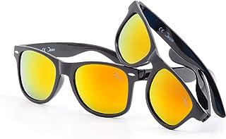 Desire - Pack de 2 gafas de sol con lentes de colores para padres e hijos, de PET reciclado, UV400, efecto espejo, colección primaveral para mujeres, hombres y niños, 2 unidades