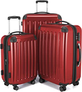 HAUPTSTADTKOFFER Luggages Sets Glossy Suitcase Sets Hardside Spinner Trolley Expandable (20', 24' & 28') TSA (Red)