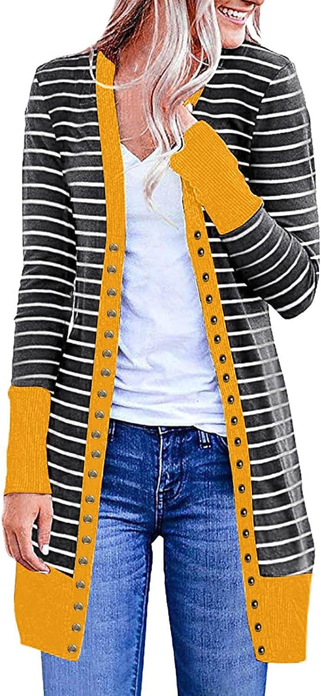 Womens Stripe Print Button Down Long Knit Cardigan Casual Slim Fitting Lightweight Sweater Coat