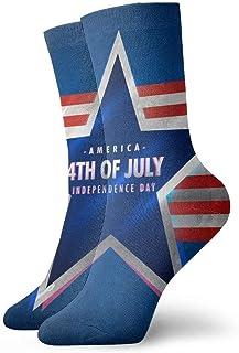 tyui7, 4 de julio Calcetines de compresión antideslizantes con rayas rojas Star Cozy Athletic Calcetines de 30 cm para hombres, mujeres y niños