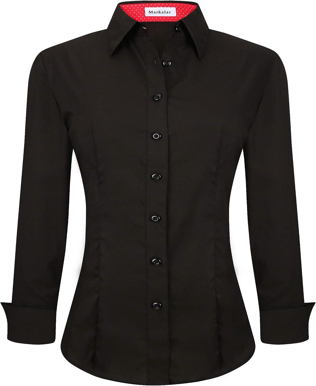 Markalar Womens Cotton Stretch Button Down Shirt Regular Fit Long Sleeve Work Office Blouse Dress Shirts (S-XXL)