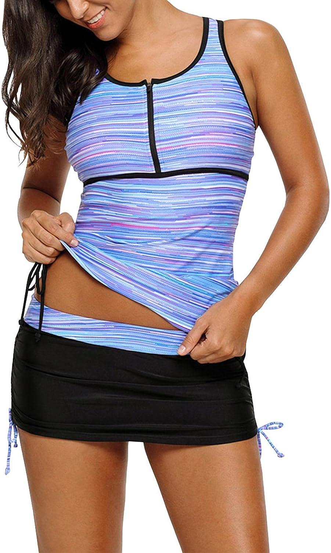JulyLady Women's 2 Pieces Swimsuit Print Zip Front Racerback Tankini Set with Pantyskirt