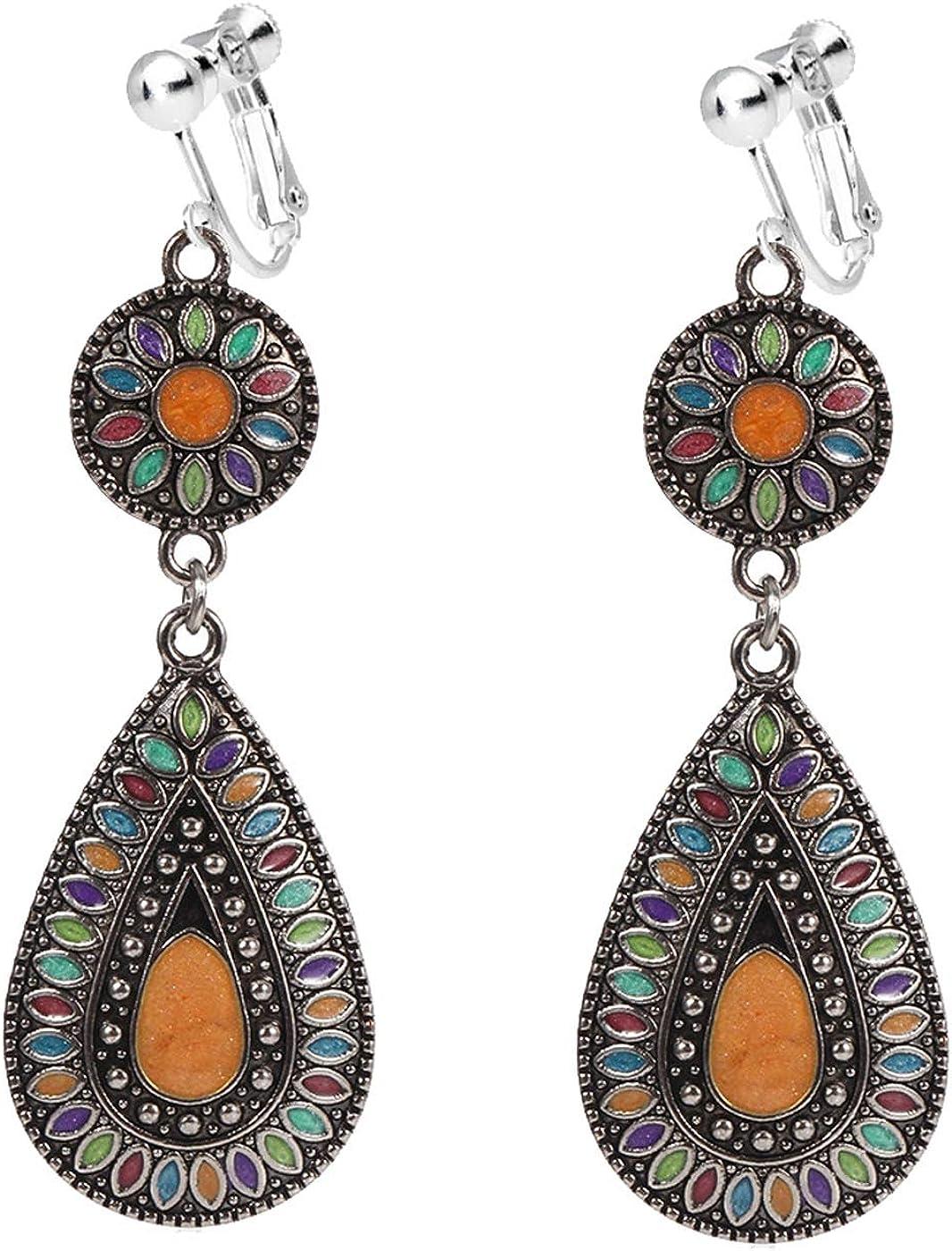 Bohemian Clip on Earrings for Women Girls Teardrop Drop Dangle Drop Vintage Style Retro Boho Enamel Ethnic Totem Flower