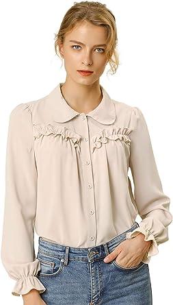Allegra K Blusa Camisa Tops con Botones Manga Larga Puño Elástico Detalle De Volantes para Mujeres