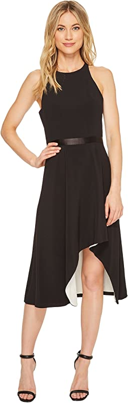 Halston Heritage - Sleeveless Round Neck Crepe Dress w/ Flowery Skirt