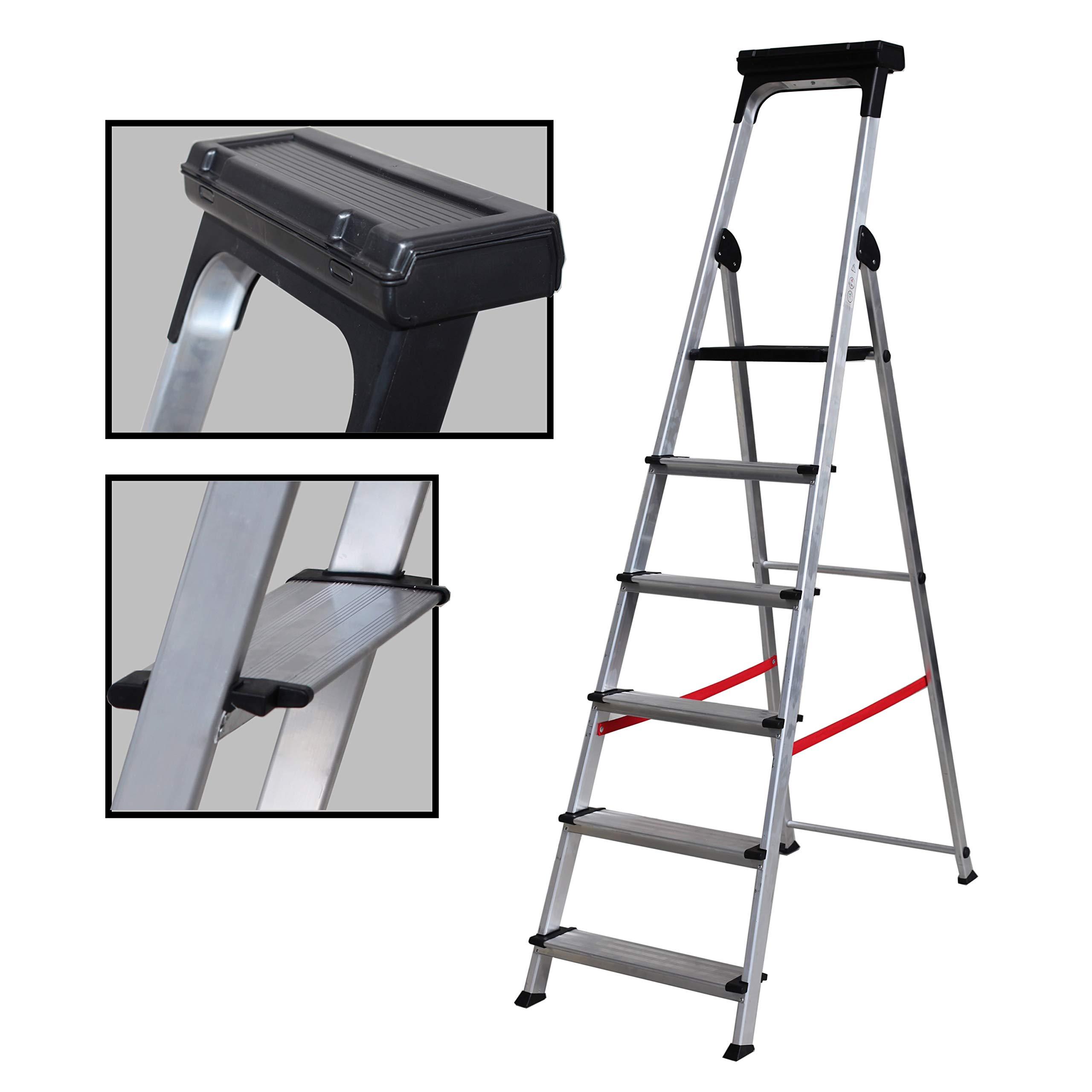 Escalera Ancha de Aluminio ELITE PLUS (6 Peldanos). BTF-TJB406: Amazon.es: Bricolaje y herramientas