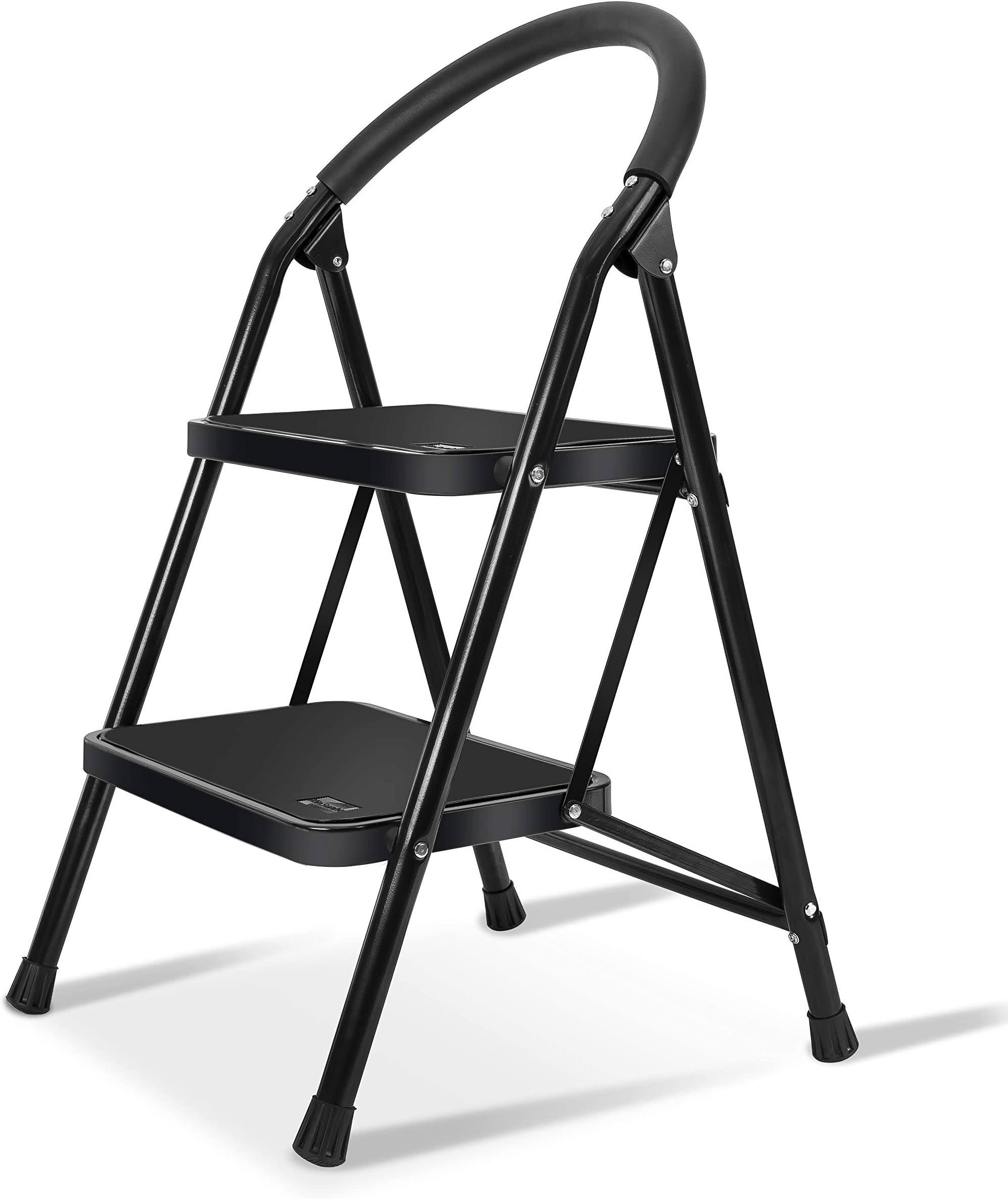 XinSunho 2 Step Ladder,Small Folding Sturdy Step Stool for Kitchen Home Closet,Wide Pedal 330lbs Heavy Duty Ladder for Adults Seniors,Black