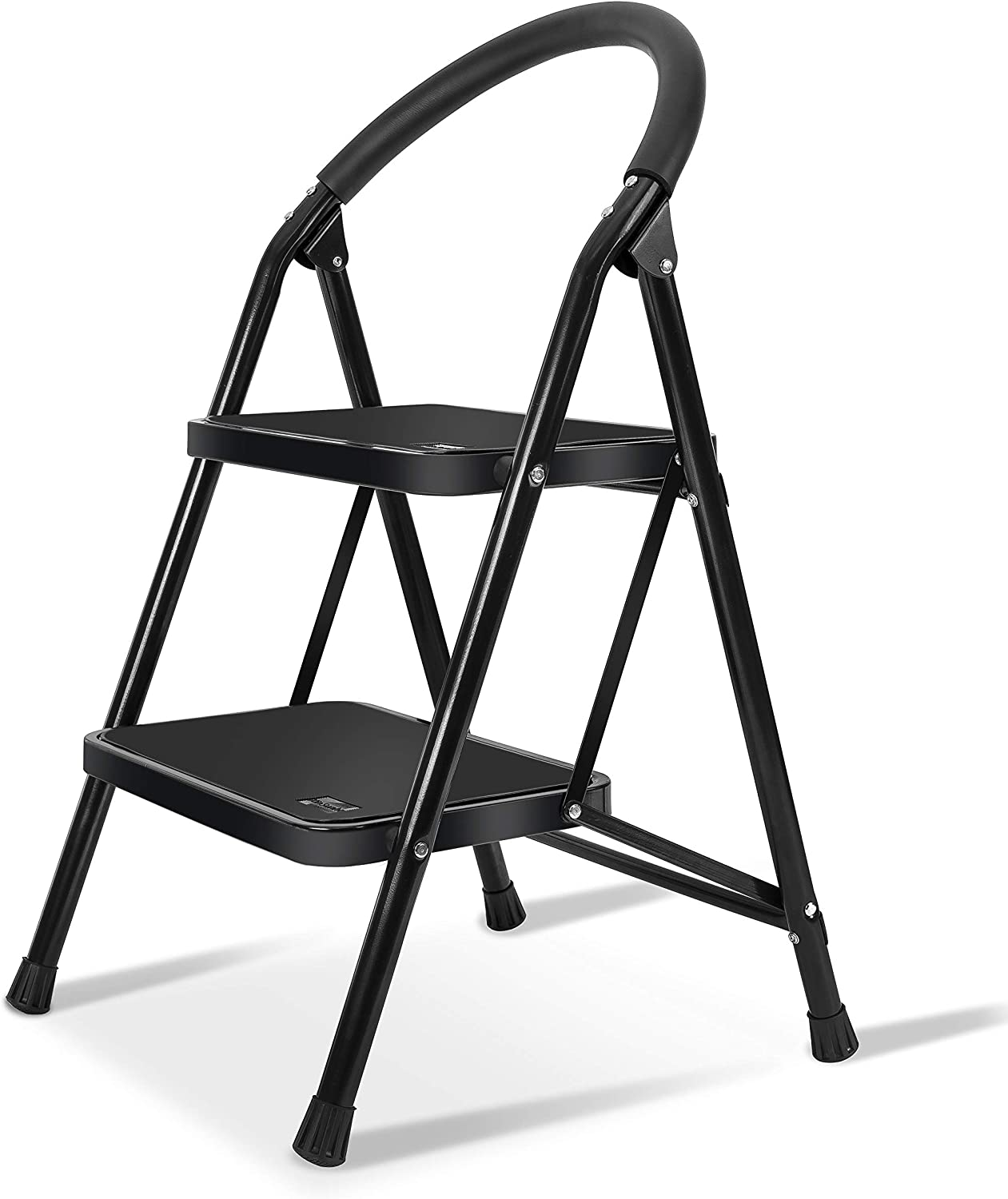 XinSunho 2 Step Ladder, Small Folding Sturdy Step Stool for Kitchen Home Closet, Wide Pedal 330lbs Heavy Duty Ladder for Adults Seniors, Black - -