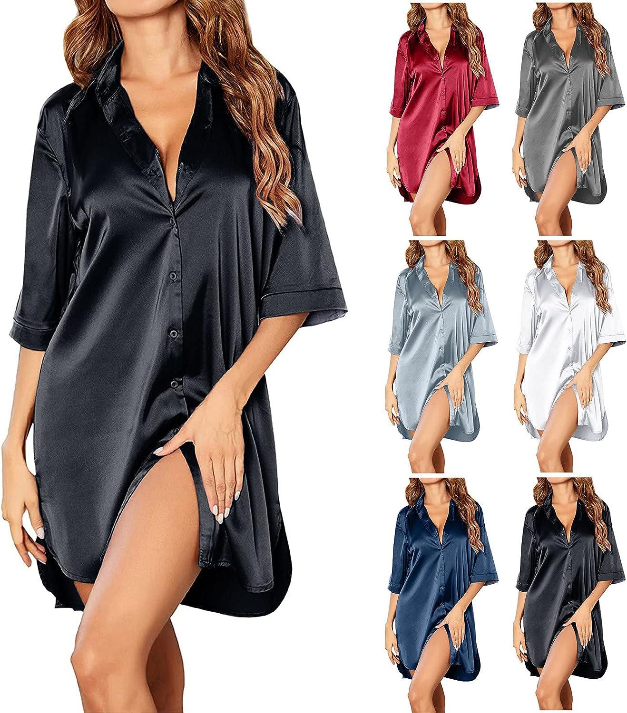Women's Sexy Nightgown Button Down Satin 3/4 Sleeve Sleepshirt Solid Stand Collar Sleepwear Lightweight Nightshirt