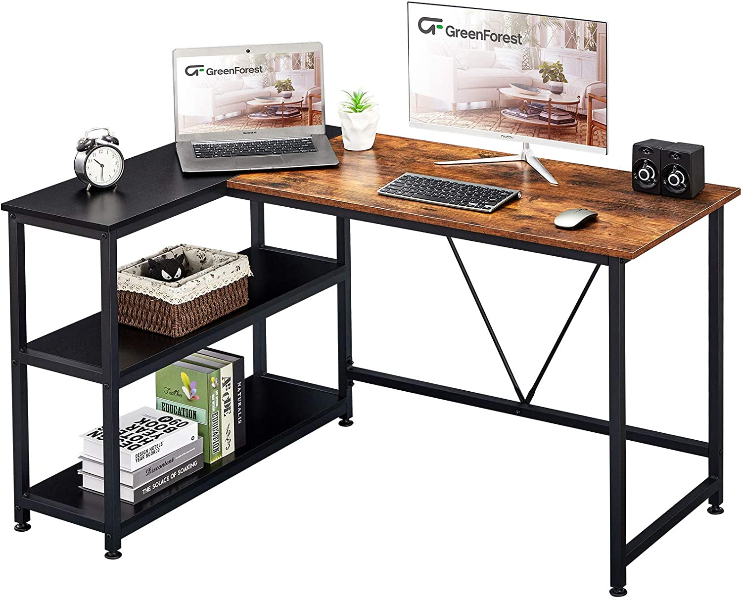 GreenForest L Shaped Desk At the price Popular popular Small Reversible with Corner Size