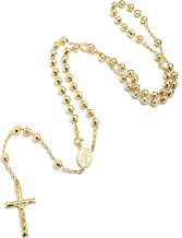 NYC Sterling Unisex Gold Plated Sterling Silver Rosary Charm Necklace