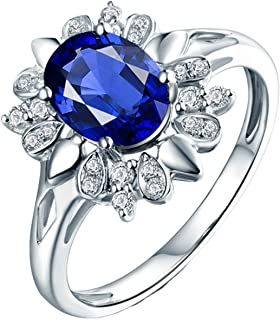 ButiRest - Anello da donna in oro bianco 750, 18 carati, 18 carati, con 4 rebbi ovali, 1,62 ct, zaffiro blu VS e diamante ...