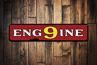 PotteLove Firehouse Engine Number 9 Sign, Personalized Firefighter Man Cave Firehouse Decor, Metal Fire Station Sign - Quality Aluminum Engine Signs, Metal Signs Tin Plaque Wall Art Poster 18