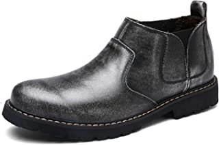RAINSTAR Men's Cowskin Chelsea Boots Working Shoes Slip On Martin Ankle Bootie