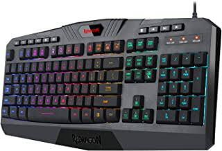 Redragon K503 PC Gaming Keyboard, RGB LED Backlit, Wired, Multimedia Keys, Silent USB Keyboard with Wrist Rest for Windows PC Games (Black)