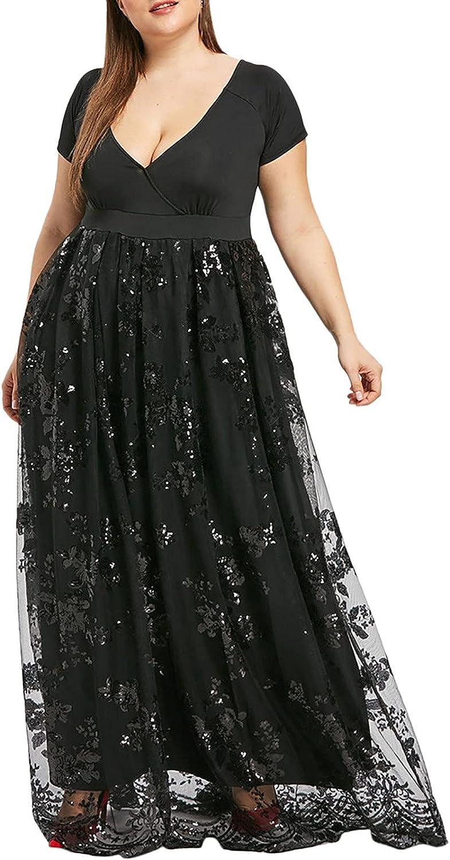 Summer Plus Size Dress For Women V Neck Short Sleeve Party Dress Floral Print Patchwork Sundress Sequin Mesh Maxi Dress