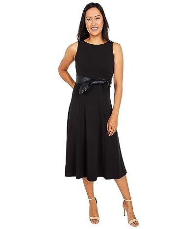 Calvin Klein Midi Dress with Faux Leather Belt (Black) Women