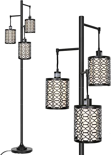 lowest Hykolity 3-Light Floor Lamp for Living Room, Metal Outer Shade Frame with White Inner Fabric Shade Liner, Sturdy Base Tall Vintage Pole Light Great for Living Room, Bedroom, Bulb discount outlet sale Sold Separately outlet sale