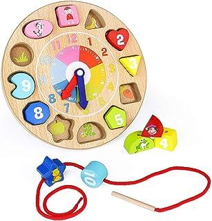comprar comparacion Nuheby Reloj de Madera Juegos Educativo Calendario Infantil Juegos Montessori Hilo Cuentas de Madera Patrones Animales Jug...