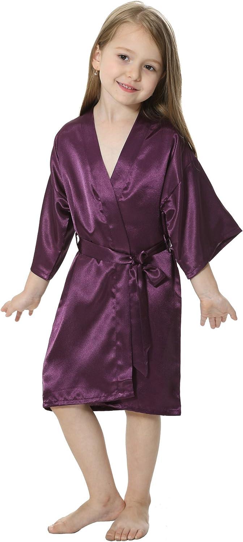 JOYTTON Kids Satin Rayon Kimono Robe Bathrobe for Spa Party Wedding Birthday