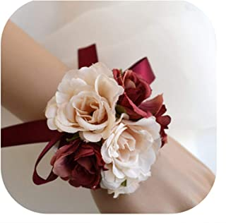 Many Color Bride Bridesmaid Hand Wrist Flower Wedding Flower Girl Bracelet Bridal Wristband Corsage Accessories Supplies,As Picture10