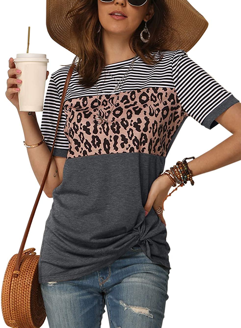 Bunanphy Womens Short/Long Sleeve Round Neck Leopard Color Block Side Twist Cute Blouse Tunic Top T Shirt