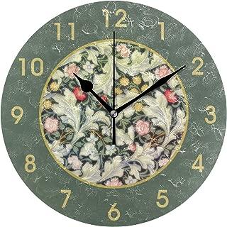 壁掛け時計 アクリル 雑貨 かけ時計 壁掛時計 掛け時計 時計 無音時計 連続秒針 静音 オシャレ ウィリアム・モリスレスターのヴィンテージの花柄