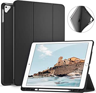Benazcap Case for iPad Pro 12.9 Inch 2017/2015 with Pencil Holder- Lightweight Soft TPU Back Cover and Trifold Stand with Auto Sleep/Wake,Protective for iPad Pro 12.9 Inch(1st & 2nd Gen),Black