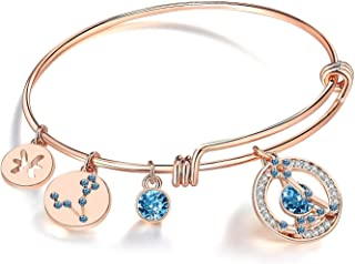 Superstar Zodiac Expandable Bangle Bracelet Made with Swarovski Crystals Horoscope Constellation Birthstone Jewelry, Rose Gold Plated, 7