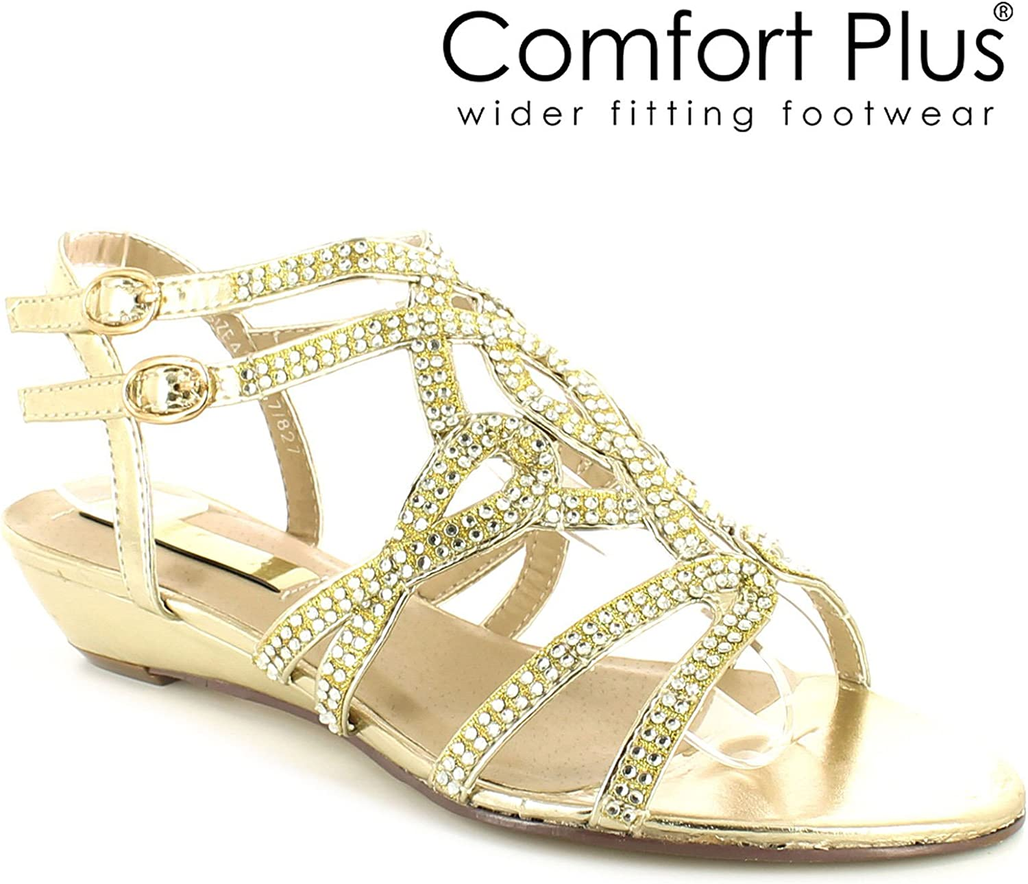 Womens Ladies Wide FIT Gold Sandals