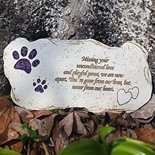 JHB Pet Memorial Dog Stone, Hand-Printed Personalized Loss of Pet Gifts (Shining Paw)