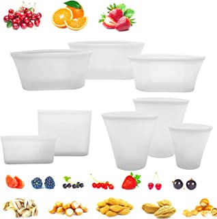 8 Pack Reusable Silicone Food Bag Zip Lock Containers, BPA Free Leakproof Cup Pattern Dishes Storage Bags for Fruit / Snack / Vegetables, Microwave Dishwasher & Freezer Safe, (White)