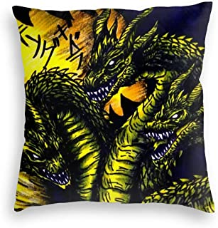 Timomo Go-Shop Pillowcase Ultra Warm Velvet Square Pillow Covers Breathable, King Ghidorah Godzilla Monsters Drawing Fanart, Stylish Zippered Cushion Covers for Offices Living Room Sofa 18x18 Inch