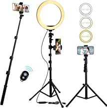 10'' Selfie Ring Light with 51'' Extendable Tripod Stand Cell Phone Holder and Wireless Remote Shutter LED Dimmable 3-Color Adjustable for Outdoor YouTube Video Selfie Makeup iPhone Samsung (Nightstar