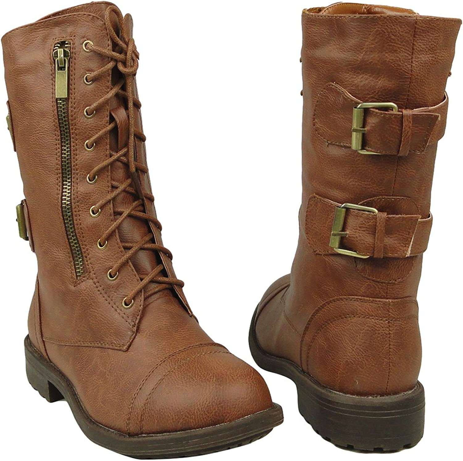 TG By KSC Women's Mid Calf Casual Comfort Rounded Toe Combat Boots US Sizes 5.5-10 Tan