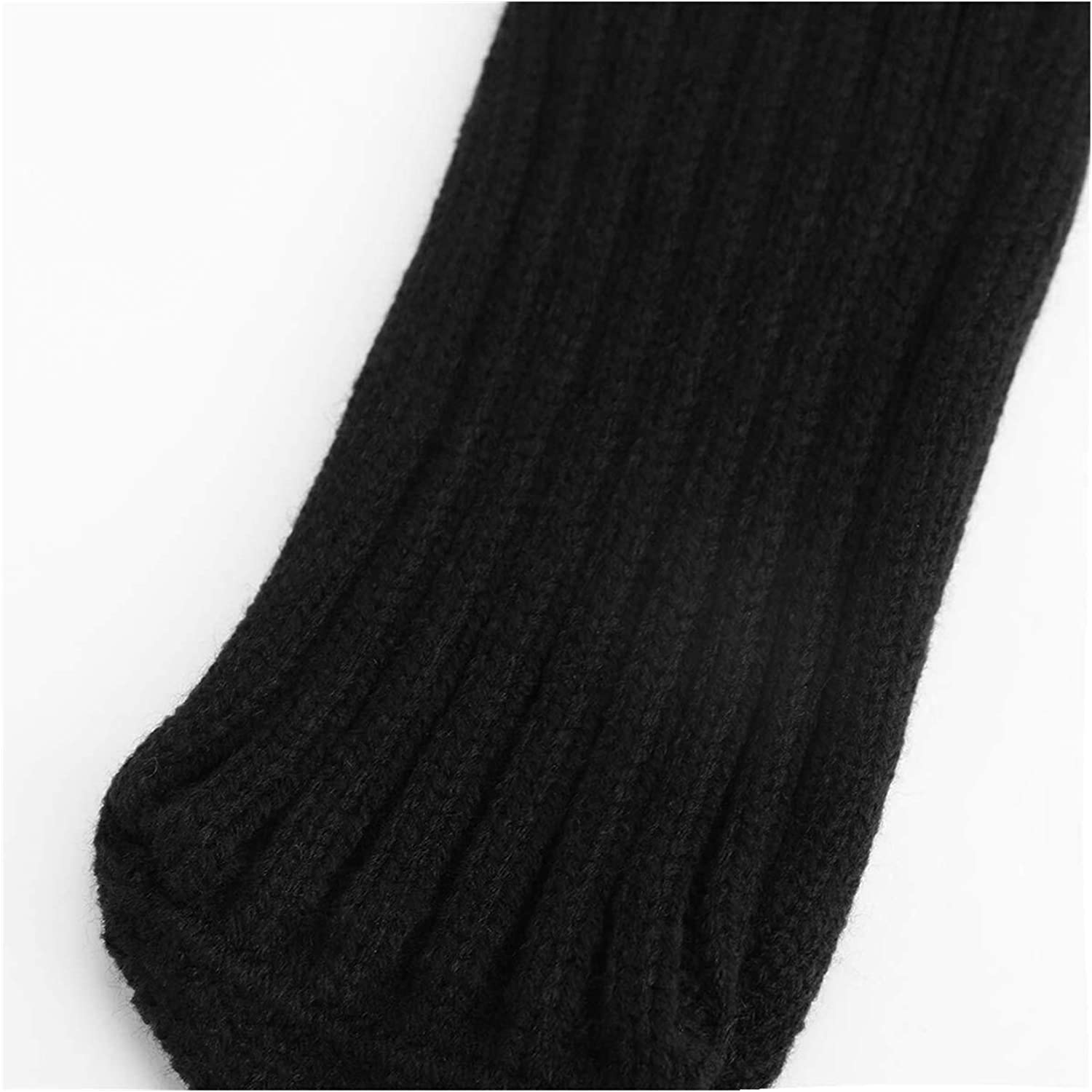 YUNSHAO Women's Knitted Long Boot Socks Knee Thigh High Cotton Socks Leg Warmers for Ladies Girls Indoor Floor Socks Long Stockings for Boots (Color : Black, Size : 62cm)