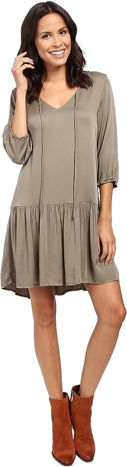 Romy Rayon 3/4 Sleeve Drop Waist Dress