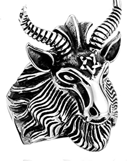 SUNSCSC Stainless Steel Satan Worship Baphomet Ram Aries Zodiac Sheep Goat Head Horn Biker Ring