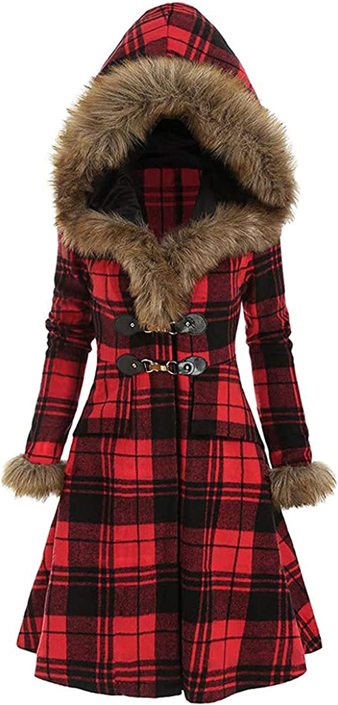 Women's Hooded Jacket Winter Fashion Belted Plaid Faux Fur Coat Warm Long Sports Jacket