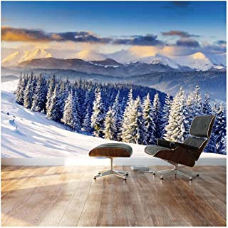 wall26 - Snowy Mountain Silent Winter Scene - Landscape - Wall Mural, Removable Sticker, Home Decor - 100x144 inches