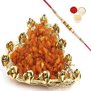 Ghasitaram Gifts Rakhi Gifts for Brothers Rakhi Dyfruits- Mesh Heart Masala Mango Tray with Pearl Rakhi